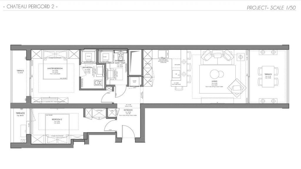 ch teau p rigord ii 3 pi ces r nov et moderne appartement 3 pi ces monaco. Black Bedroom Furniture Sets. Home Design Ideas